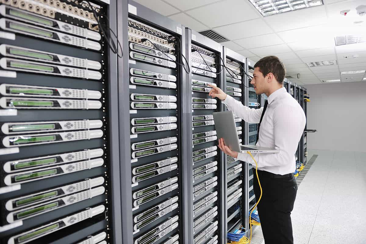 man using IT Server