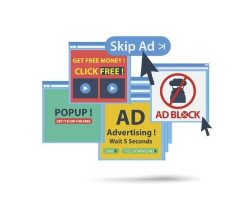 adblock popup web banner concept. isolated vector